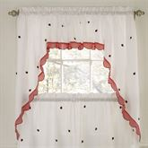 Ladybug Meadow Swag Valance Pair White 56 x 38