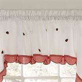 Ladybug Meadow Tailored Valance White 56 x 12