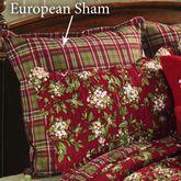 Mistletoe Leaves Plaid Flanged Sham Red European