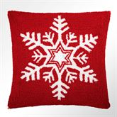 Snowflake Hooked Pillow Red 16 Square