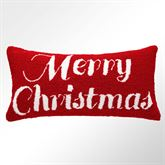 Merry Christmas Hooked Pillow Red Rectangle