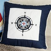 Sail Away Compass Piped Pillow Navy 16 Square