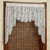 Palm Leaves Lace Swag Valance Pair Ivory 56 x 38
