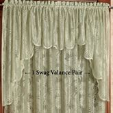 Palm Leaves Lace Swag Valance Pair Sage 56 x 38