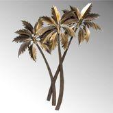 Triple Palm Tree Wall Sculpture Multi Metallic