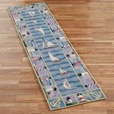 New Colonial Lighthouse Rug Runner Blue 2 x 8