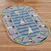 New Colonial Lighthouse Oval Rug Blue 26 x 46 Oval