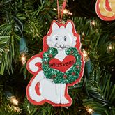 White Cat Holiday Ornament Multi Warm