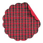 Hadley Plaid Round Placemats Red Set of Four