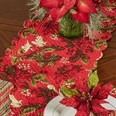 Poinsettia and Pine Table Runner Red 14 x 51