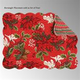 Poinsettia and Pine Rectangle Placemats Red Set of Four