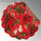 Poinsettia and Pine Round Placemats Red Set of Four