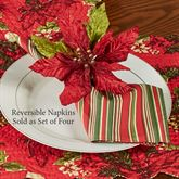 Poinsettia and Pine Napkins Red Set of Four