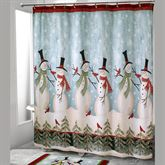 Tall Snowmen Shower Curtain Blue 72 x 72
