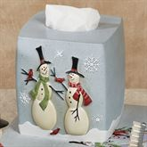 Tall Snowmen Tissue Cover Blue