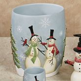 Tall Snowmen Wastebasket Blue