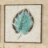 Turquoise Blue Palm Leaf Impression Wall Art Multi Cool