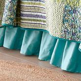 Riptide Patch Gathered Bedskirt Teal