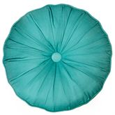 Riptide Patch Tufted Pillow Teal Round