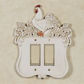Le Chanticleer Double Dimmer Rocker Switch Handpainted Ivory