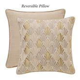 Abrielle Reversible Embroidered Pillow Vanilla 14 Square