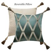 Anora Reversible Tasseled Pillow Pine 16 Square