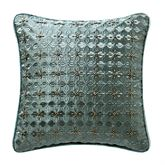 Anora Beaded Embroidered Pillow Green 14 Square
