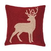 Colton Deer Hooked Pillow Multi Warm 18 Square
