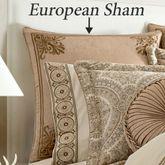 Sardinia Embroidered Piped Sham Dark Beige European