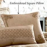 Sardinia Embroidered Pillow Dark Beige 18 Square