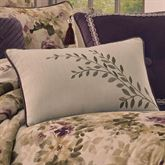 Floral Grace Embroidered Pillow Dark Beige Rectangle