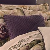 Floral Grace Pleated Piped Pillow Plum 18 Square