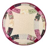 Deidre Wedding Ring Patchwork Pillow Cream Round
