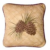 Brown Antler Woods Quilted Pillow Multi Warm 18 Square