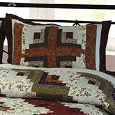 Log Cabin Quilted Sham Multi Warm Standard