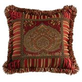 Lorenza Fringed Square Pillow Dark Red 18 Square