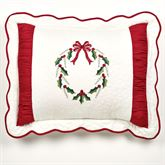 Holly Wreath Scalloped Sham Ivory Standard
