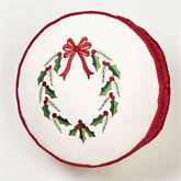 Holly Wreath Embroidered Pillow Ivory Round