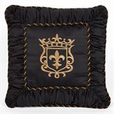 Triomphe Embroidered Crest Square Pillow Latte 18 Square