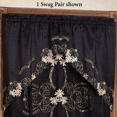 Annabella Rose Swag Valance Pair Black 60 x 38