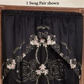 Annabella Rose Swag Valance Pair Black 60 x 38