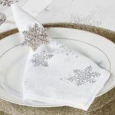 Evening Snowflake Napkins White Set of Four