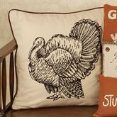 Turkey Print Square Accent Pillow Ivory
