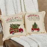 Red Wagon Holiday Accent Pillow