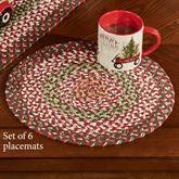 Holly Berry Round Braided Placemats Red Set of Six