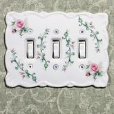 Rose Porcelain Triple Switch