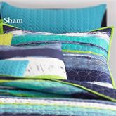 Cordoba Teal Striped Quilted Sham Teal