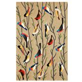 Natural Bird Rectangle Rug Multi Earth