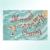 Mermaid Crossing Rectangle Rug Aqua