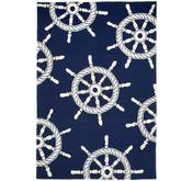 Ship Wheel Rectangle Rug Navy 5 x 76